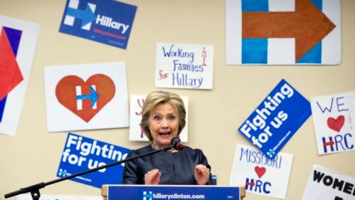 Democratic presidential candidate Hillary Clinton speaks during a campaign event at the O'Fallon Park Recreation Complex in St. Louis, Saturday, March 12, 2016. (AP Photo/Carolyn Kaster)