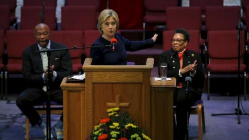 Democratic U.S. Presidential candidate Hillary Clinton speaks during a mass at the Mt. Zion Fellowship church, accompanied by Congresswoman Marcia Fudge (R), during a campaign stop in Highland Hills, Ohio March 13, 2016. REUTERS/Carlos Barria