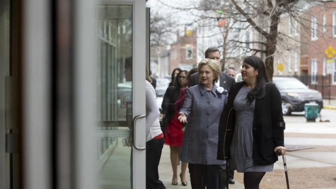 Democratic presidential candidate Hillary Clinton arrives for an immigration round table at The Resurrection Project at La Casa in the Pilsen neighborhood of Chicago, Monday, March 14, 2016. (AP Photo/Carolyn Kaster)