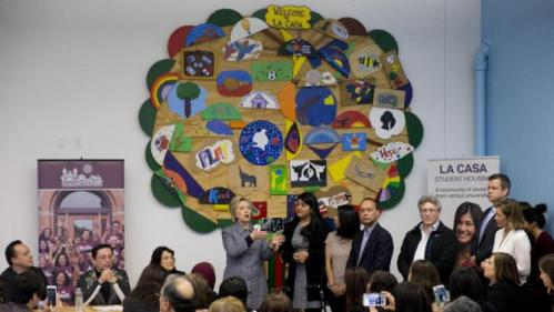 Democratic presidential candidate Hillary Clinton speaks during an immigration round table at The Resurrection Project at La Casa in the Pilsen neighborhood of Chicago, Monday, March 14, 2016. (AP Photo/Carolyn Kaster)