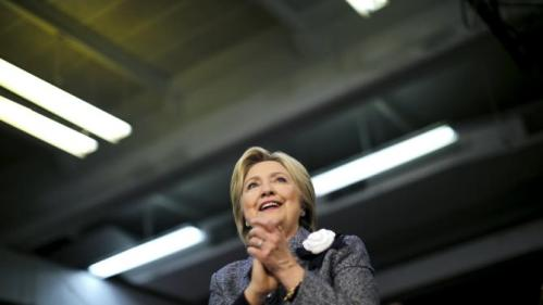 Democratic U.S. Presidential candidate Hillary Clinton reacts during a campaign rally at a community center in Charlotte, North Carolina, March 14, 2016. REUTERS/Carlos Barria