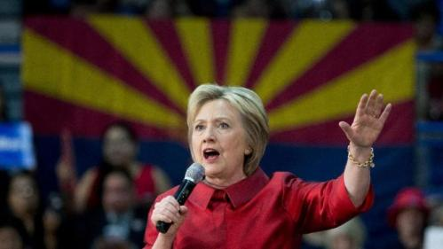 Democratic presidential candidate Hillary Clinton speaks during a campaign event at Carl Hayden Community High School in Phoenix, Monday, March 21, 2016. (AP Photo/Carolyn Kaster)