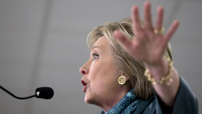 Democratic presidential candidate Hillary Clinton speaks during a campaign event at the IAM District 751 Everett Union Hall in Everett, Wash., Tuesday, March 22, 2016. (AP Photo/Carolyn Kaster)