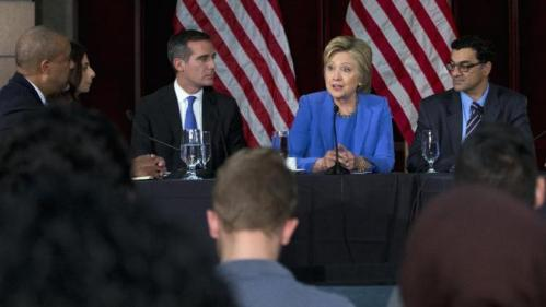 Democratic presidential candidate Hillary Clinton participates in a roundtable with Muslim community leaders at the University of Southern California in Los Angeles, Thursday, March 24, 2016. From left are, City of Los Angeles General Manager, Emergency Management Department James Featherstone, Senior Policy Analyst City of Los Angeles Human Relations Commission & Adjunct Assistant Professor (CSUDH) Joumana Silyan-Saba, Los Angeles Mayor Eric Garcetti, Clinton, and President of the Muslim Public Affairs Council, Salam Al-Marayati (AP Photo/Carolyn Kaster)