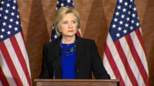 "Hillary Clinton rebukes Senate Republicans for refusing to hold a hearing on U.S. Supreme Court nominee Merrick Garland, calling it ""low-minded politics"". Rough Cut (no reporter narration)."