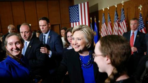 Democratic presidential candidate Hillary Clinton shakes hands after delivering a speech at the University of Wisconsin in Madison, Wis., Monday, March 28, 2016. (AP Photo/Patrick Semansky)