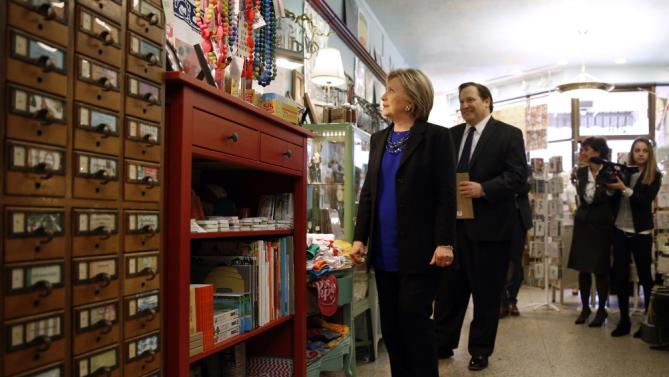 Democratic presidential candidate Hillary Clinton shops in a store in Madison, Wis., Monday, March 28, 2016. (AP Photo/Patrick Semansky)