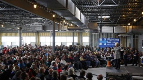 Democratic presidential candidate Hillary Clinton speaks at Western Technical College in La Crosse, Wis., Tuesday, March 29, 2016. (AP Photo/Patrick Semansky)