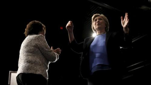 U.S. Democratic presidential candidate Hillary Clinton (R) appears on stage with U.S. Representative Nita Lowey during a campaign rally at State University of New York (SUNY) at Purchase in Westchester County, New York, March 31, 2016. REUTERS/Mike Segar
