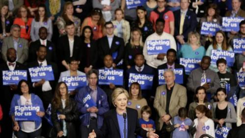Democratic presidential candidate Hillary Clinton speaks at a rally in Purchase, N.Y., Thursday, March 31, 2016. (AP Photo/Seth Wenig)