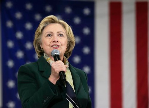 Democratic presidential candidate Hillary Clinton speaks during a rally on Friday, April 8, 2016, in Brighton, N.Y. (AP Photo/Mike Groll)