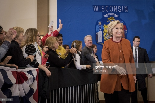 Hillary Clinton, former Secretary of State and 2016 Democratic presidential candidate, walks to the stage during a campaign event in Eau Claire, Wisconsin, U.S., on Saturday, April 2, 2016. Clinton used Donald Trump's remarks about punishing women who have abortions if the procedure were outlawed to level a double-barreled attack on the Republican front-runner as well as her Democratic rival, Bernie Sanders. Photographer: Christopher Dilts/Bloomberg *** Local Caption *** Hillary Clinton