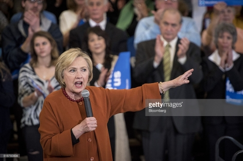 Hillary Clinton, former Secretary of State and 2016 Democratic presidential candidate, speaks during a campaign event in Eau Claire, Wisconsin, U.S., on Saturday, April 2, 2016. Clinton used Donald Trump's remarks about punishing women who have abortions if the procedure were outlawed to level a double-barreled attack on the Republican front-runner as well as her Democratic rival, Bernie Sanders. Photographer: Christopher Dilts/Bloomberg *** Local Caption *** Hillary Clinton