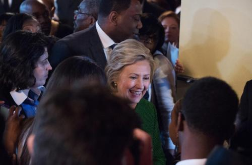 Democratic presidential candidate Hillary Clinton is surrounded by supporters as she exits following a speech at New Greater Bethel Ministries during a campaign stop, Sunday, April, 10, 2016, in New York. (AP Photo/Bryan R. Smith)
