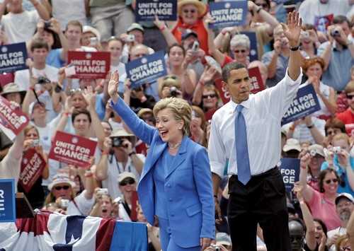 UNITY, NH-6/27/08- Dem. Presidential candidate Barack Obama was joined on the podium by Hillary Clinton, his democratic rival in a hard-fought primary, in a field behind the elementary school in the tiny town of Unity, N.H. Friday afternoon. Courant PHOTO BY STEPHEN DUNN ORG XMIT: 10008608A