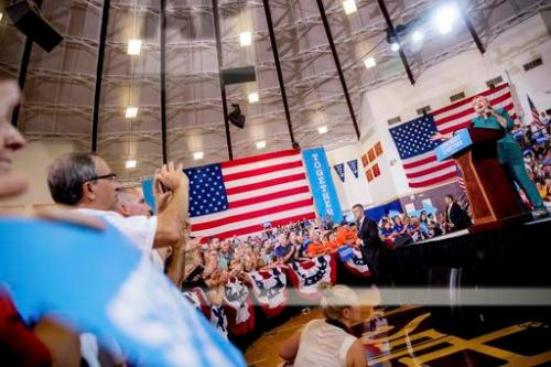 Democratic presidential candidate Hillary Clinton speaks at a rally at Abraham Lincoln High School, in Des Moines, Wednesday, Aug. 10, 2016. (AP Photo/Andrew Harnik)