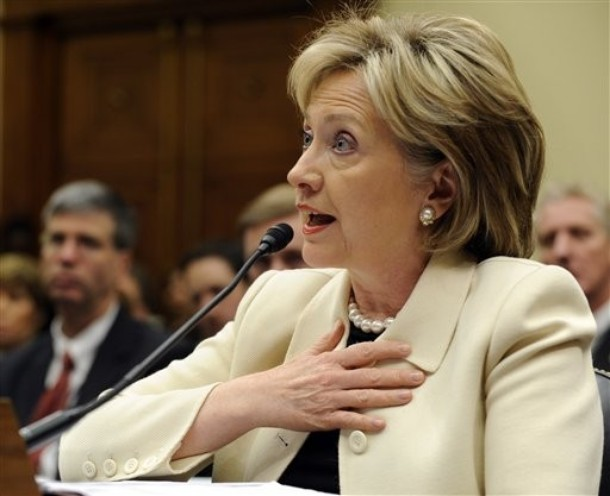 Secretary of State Hillary Rodham Clinton testifies on Capitol Hill in Washington, Wednesday, April 22, 2009, before the House Foreign Affairs Committee. (AP Photo/Susan Walsh)