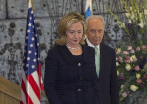 "U.S. Secretary of State Hillary Clinton (L) and Israel's President Shimon Peres leave after their joint statements at the president's residence in Jerusalem September 15, 2010. Israeli and Palestinian leaders are ""getting down to business"" and tackling the main issues of the Middle East conflict, Hillary Clinton said on Wednesday. REUTERS/Darren Whiteside (JERUSALEM - Tags: POLITICS)"